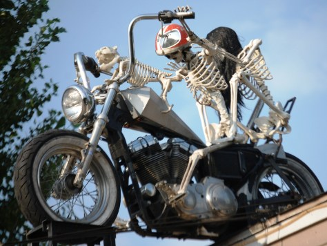 Closeup of the Biker Skeleton at Bethel Saloon