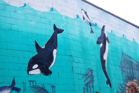 The Orcas on the wall mural in Port Orchad