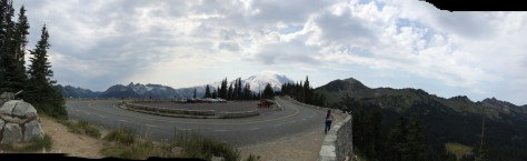 Panorama of Tipsoo Lake Parking Area near Naches Peak Trail