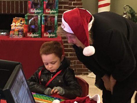 Naughty Grandma helping the birthday boy take his survey