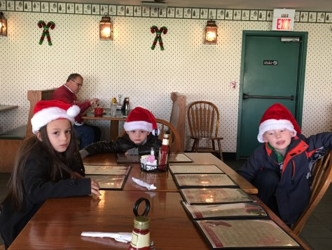 Grandkidz waiting for their chicken strips and fries at St. Nick's