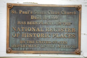 Plaque on old Santa Claus Church