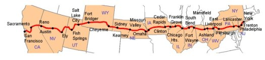 The Lincoln Highway Map from lincolnhighwayassoc.org