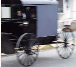 An Amish Buggie speeds by in Intercourse