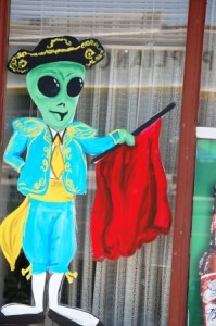 Alien Matador greets guests at El Toro Bravo Mexican Restaurant in Roswell, NM