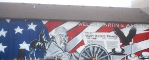 A mural of Harry Truman on a Law Office in Independence, MO painted by David McClain. Truman was born in Independence