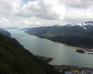View of Gastineau Channel as seen from top of mountain
