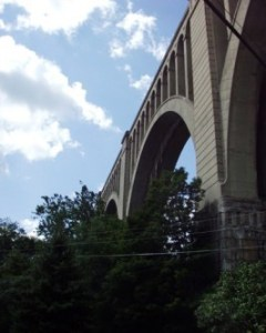 The viaduct is dizzying when looking up from below