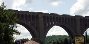 Tuckhannock Viaduct towers over the small town of Nicholson, PA