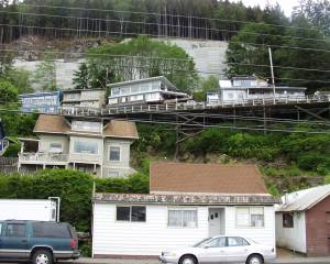 Road up on stilts in Ketchikan, Alaska