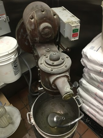 The old reliable dough mixer at Mama Santa's has been around for decades apparently