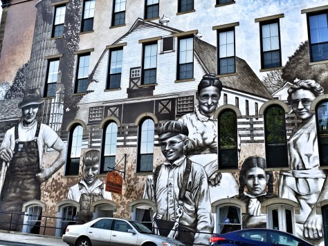 The huge Heritage Harvesters mural in downtown Wilmington, OH