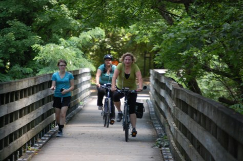 Julianne and Marissa at the end of the trail in Abingdon