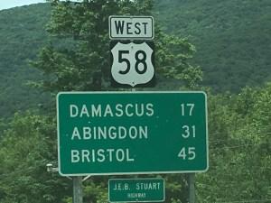 US Hwy 58 in Virginia, near Damascus