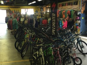 Inside SunDog Outfitters in Damascus, one of many shops catering to the biking and hiking crowd