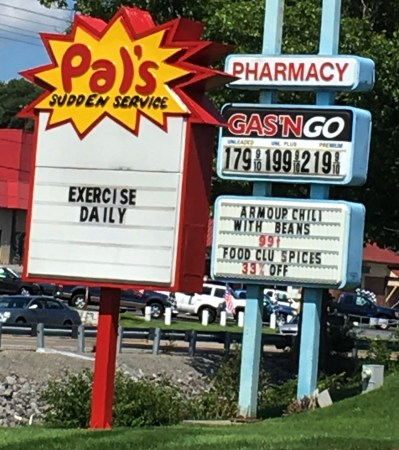 After eating Pal's food make sure to Exercise Daily. Couldn't help but chuckle