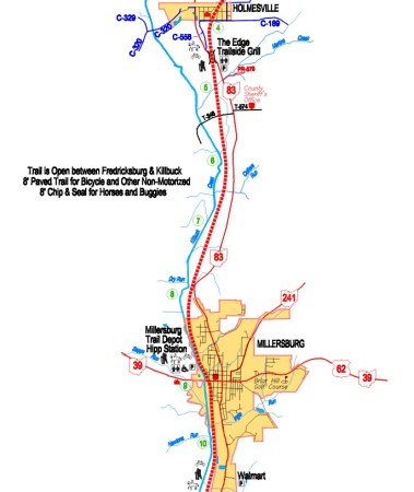 Map of trail from Holmesville to Millersburg