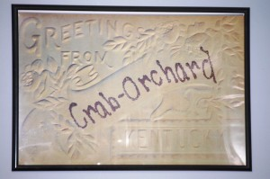 Welcome to Crab Orchard - sign inside of Past Time Cafe