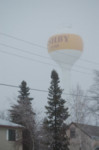 Ashby, MN Water Tower in the fog