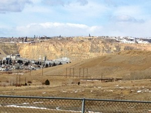 Berkeley Pit as seen from Downtown Butte