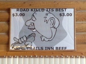 Road Kill Beef Jerky sign at Chriswell's