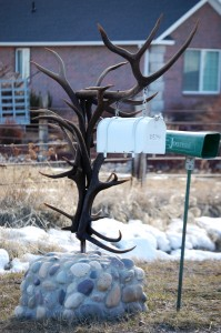 An elk horn mailbox in Thornton, ID