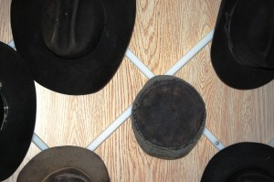 The hat rack - the men wear hats in the public
