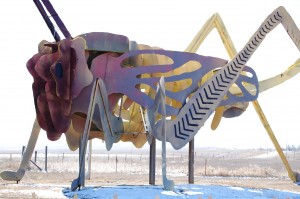 """Giant Grasshopper at Stop #3, """"Grasshoppers in the Field"""""""