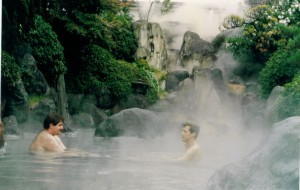 David enjoying a spa in Beppu