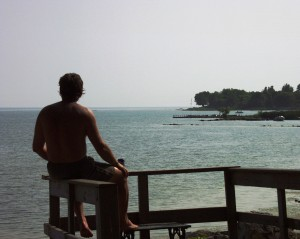 Man on Beach - Lake Erie in Ontario