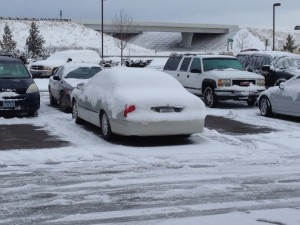 My car after a late March snowstorm in Rexburg