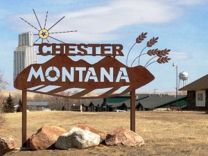 Chester, Montana welcome sign on West side of town