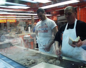 Grilling the steaks at Geno's in Philadelphia