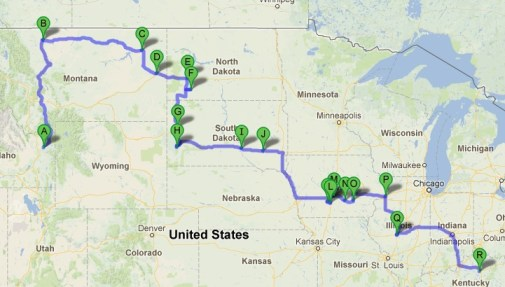 Map of our entire road trip - April 2013