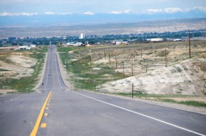 US Route 16 into Worland, WY from Ten Sleep, WY