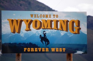 Welcome to Wyoming sign on US 30