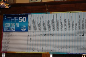 The 50 Chart at Menches Brothers - competition to see who can eat all 50 varieties of Menches Burgers
