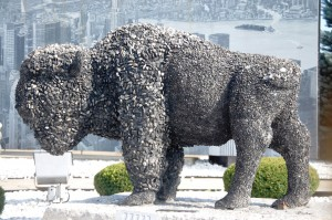 Large buffalo statue made out of stone at Garden Palace Hotel in Williamsville, NY