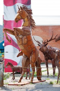 Metal Horse and Elk - Salida, Colorado