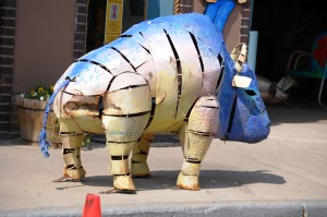 Odd metal buffalo in Salida, Colorado
