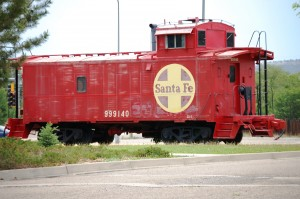 Old Santa Fe caboose, reminder that Raton was built on the railroad