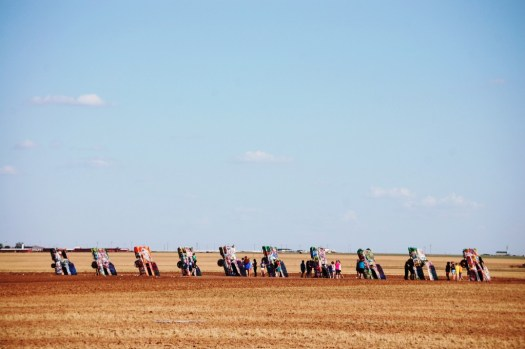 Cadillac Ranch as seen from Interstate 40 west of Amarillo, Texas