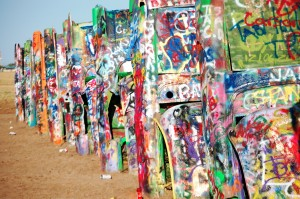 Colorful Caddys of Cadillac Ranch near Amarillo, Texas