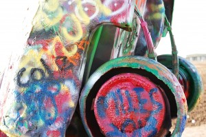 Spray painted wheel at Cadillac Ranch