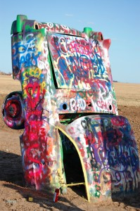 One of the colorful Caddies at Cadillac Ranch
