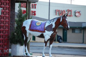 A painted horse with Native American designs in Durant, Oklahoma