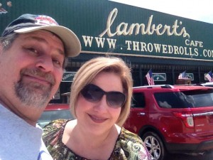 Sumoflam and wife at Lambert's Cafe - Home of Throwed Rolls