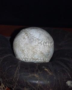 Old baseball and mitt in Beachville Museum