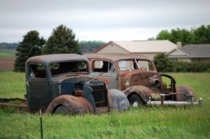 Old car and truck in Elk Point, South Dakota