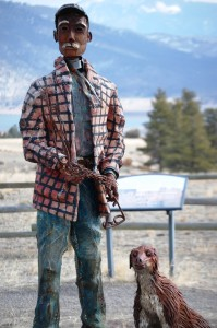 Scrap Metal and wire Man and Dog at entrance to Gates of the Mountains in Montana